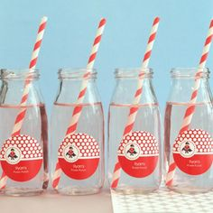 Personalized Kids Birthday Milk Jars and Straws