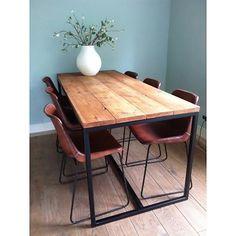 PURE Wood Design 'Brandal' industriële tafel steigerhout met stalen frame