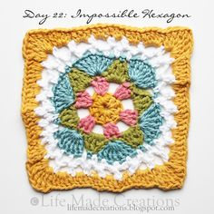 Day 22: Impossible Hexagon block free crochet pattern on Life Made Creations at http://lifemadecreations.blogspot.com/2011_05_01_archive.html
