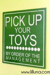 Easy Playroom Sign. Made for under 5 dollars lilluna.com #playroom  Cute :-)