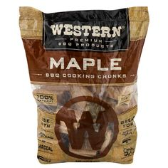 Western BBQ Maple Barbecue Flavor Wood Cooking Chunks for Grilling and Smoking, Gray Electric Bbq Grill, Masterbuilt Electric Smokers, Smoking Chips, Ceramic Grill, Pecan Wood, Smiths Food, Cooking Appliances, New Flavour, Outdoor Cooking