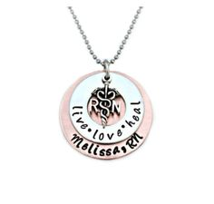Hand Stamped Jewelry / RN LPN necklace / by BeeBaublesJewelry