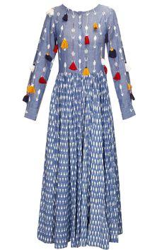 KA-SHA Blue ikat printed tassel dress available only at Pernia's Pop-Up Shop.