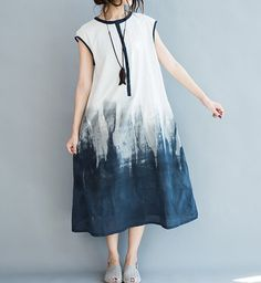 Women Sundress Cotton Loose Fitting Long Maxi Dress Summer Sleeveless Dress