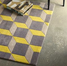 Geometric GEO07 Yellow / Grey Rugs | Modern Rugs