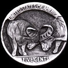JIM BROYLES HOBO NICKEL - AFRICAN CAPE BUFFALO - BUFFALO NICKEL REVERSE CARVING Foreign Coins, Hobo Nickel, Coin Art, Globes, Trinket Boxes, Horns, Buffalo, Cape, Clock