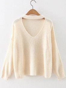 Beige Choker Neck Drop Shoulder Sweater