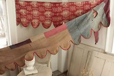 Antique French 18th c valance bed hanging pelmet