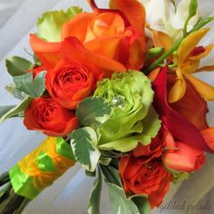 Orange and green rose, calla & orchid bouquet