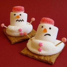 Edible craft for the holiday season- marshmallow snowman
