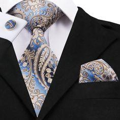 Fashion Design Paisley Tie Handkerchief Cufflinks Set for Mens Wedding Party Tie Crafts, Mens Silk Ties, Men Ties, New Mens Fashion, Men's Fashion, Fashion Tips, Fashion Trends, Paisley Tie, Cufflink Set