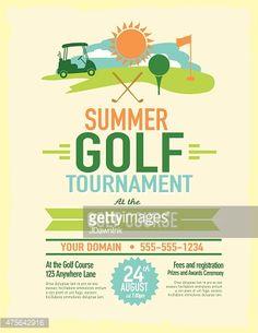 Vector illustration of an elite golf tournament invitation layout or golf tournament with golf cart invitation design template stopboris Images