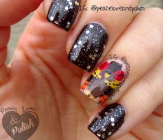Thanksgiving turkey nails with patchwork feathers by Peace, Love & Polish!