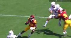 USC Wide Receiver JuJu Smith-Schuster Destroys Defender And Sends Him Flying With Vicious Blindside Block - http://viralfeels.com/usc-wide-receiver-juju-smith-schuster-destroys-defender-and-sends-him-flying-with-vicious-blindside-block/