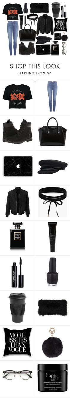 """""""Grunge♡"""" by pernille-sophie ❤ liked on Polyvore featuring Boohoo, Paige Denim, Timberland, Givenchy, LE3NO, Chanel, Allies of Skin, Edward Bess, OPI and Homage"""