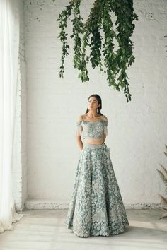 Net Lights, Blue Lehenga, Ethnic Wedding, Cutwork, Embroidered Blouse, Tassels, Cold Shoulder, Strapless Dress, Sequins