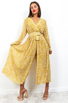 The Pleat Is On - Jumpsuit In MUSTARD/PRINT– DLSB Wedding Jumpsuit, Holiday Wardrobe, Purple Ombre, Plunging Neckline, Colorful Fashion, Party Wear, Girl Fashion, Mustard, Long Sleeve