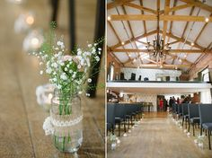 Simply beautiful, #tealights and gypsophillia in jam jars decorated with hessian and #vintagelace, line the aisle at The Carriage Hall.  image simon dewey photography