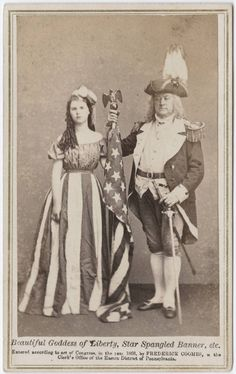 Beautiful goddess of liberty, Star Spangled Banner, etc. cdv by Coombs looks like fancy dress ball material! Vintage Pictures, Old Pictures, Vintage Images, Samhain, Victorian Fancy Dress, Victorian Dresses, Victorian Era, Patriotic Images, Fancy Dress Ball