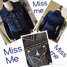 JUST IN MISS ME dark denim  jeans jacket NWT Just in Miss me dark denim size Large fitted at waist with white stitching and silver buttons with signature M on them. 15 inches from shoulder.  Get my miss me jeans that are on sale to match.  Miss Me Jeans
