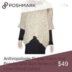 Anthropologie Slubby Cable Knit Poncho NWT One Size Anthropologie Sweaters Shrugs & Ponchos