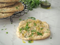 Drizzle my Garlic and Coriander Flat Bread with a little avocado oil or dip into a mixture of avocado oil, balsamic vinegar and a pinch of sea salt. Yum, Yum!!