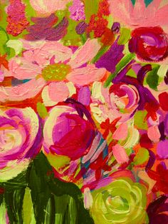 8X10 Painting Print- abstract closeup of floral painting. Funky Retro tones of lime, orange-red, salmon