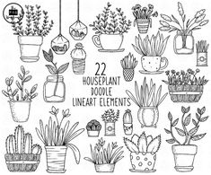 Plant Cartoon, Cactus Planta, Forest Creatures, Hand Drawn Flowers, Flower Clipart, Plant Illustration, House Plants, Line Art, How To Draw Hands