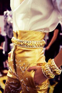 golden high waisted pants