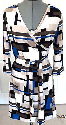 Ellen Tracy Dress Sz Medium or 8 Blue Tan Black Brown Colorblocked Wrap Nice!