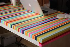 diy-tape-table. Easy DIY: Upcycle an old table by using tape to make stripes, chevrons, patterns, etc. in whatever colors you want--you could even get bold and use patterned washi tape.