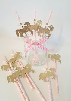 Set of Pink and Gold Party Decorations. Carousel Birthday Parties, Carousel Party, Unicorn Birthday Parties, Baby Birthday, First Birthday Parties, First Birthdays, Gold Party Decorations, Birthday Decorations, Cowgirl Party
