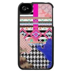 Girly Aztec Pink Stripes leopard Lace pattern iPhone 4 Case