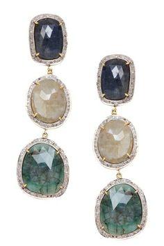 Jewels By Lori K Diamond Sapphire Freeform Triple Drop Earrings - 2.20 ctw by Non Specific on @HauteLook