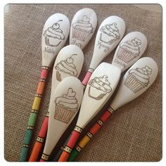 This cute cupcake design spoon set with vibrant rainbow handles makes a wonderful gift for any mom or child - or grandmother who loves to cook with
