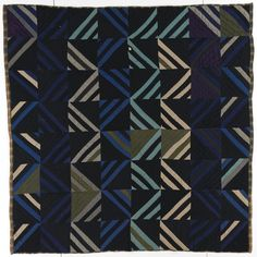 Bars quilt by unknown maker 1900 - 1920. Suiting, serge, gabardine (wool).  Posted at Quilt Study (University of Nebraska, Lincoln)