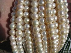 5 Strands -Large Hole Pearls 9-10mm round Potato Fresh water Pearl 5 (five strand) FREE shipping by svenghaus on Etsy