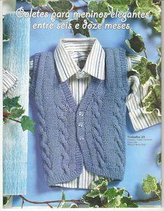 Receita de Tricô: COLETE EM TRICO PARA MENINOS Baby Kids, Baby Boy, Vest, Denim, Children, Crochet, Sweaters, Jackets, Junho