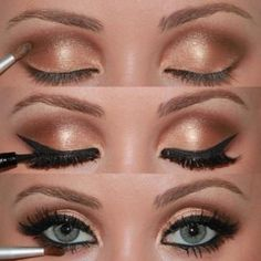 Weddbook ♥ Pretty, Golden Eye Makeup Photo Tutorial. Eye Make-up für blaue Augen. Maquiagem Marrom Passo a Passo.