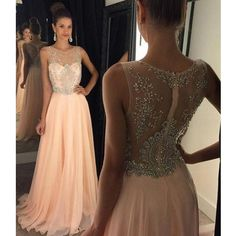 Chiffon And Beads Prom Dresses Illusion Neckline Zipper Back Pst0104 on Luulla