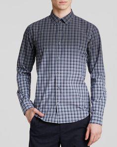 Vince Ombre Plaid Geo Print Button Down Shirt - Slim Fit