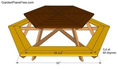Hexagon picnic table plans | Free Garden Plans - How to build garden projects