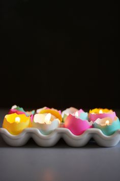 Tea Lights-Those dyed Easter eggs get a second life as elegant tealight holders in this crafty DIY. Get more stylish Easter DIYs at HouseBeautiful.com.