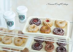 Miniature Food, Starbucks Coffee Beverage Drinks Cup, Donut Donuts Doughnut Doll Fake Food, Kawaii Cute Tiny Small Mini, 1:6 scale, bjd yosd, Dollhouse Miniatures, pastry, miniature food, blythe, barbie, monster high, jenny, licca, momoko, bakery, patisserie, doughnuts, doll fake food, confectionery, fast food
