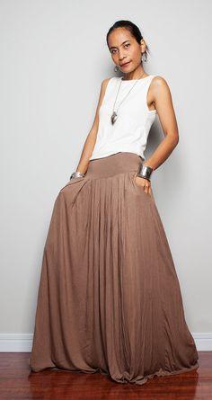 Maxi Skirt -  Long Light Brown Skirt : Autumn Thrills Collection on Etsy, $52.00