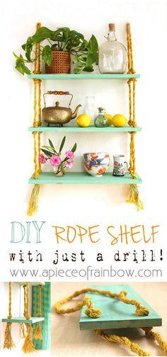 rope shelf: all I need is a drill? - A piece of rainbow DIY rope shelf: all I need is a drill? - A piece of rainbow,DIY rope shelf: all I need is a drill? - A piece of rainbow, Hanging shelves Algo tan sencillo como esta estanteria. Diy Tumblr, Home Crafts, Diy Home Decor, Diy And Crafts, Garden Crafts, Diy Projects To Try, Craft Projects, Rope Shelves, Wall Shelves