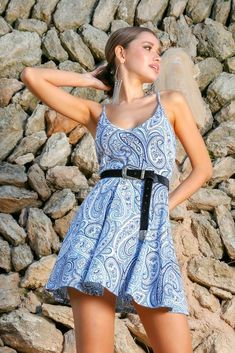 £7.00 Blue Paisley Skater Dress  cute and  elegant dress  prom dress for 5a7f71cd7