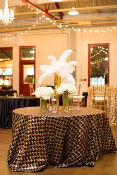 Glamorous Black, Gold and White Reception | Viva L'Event https://www.theknot.com/marketplace/viva-levent-raleigh-nc-602608 | Robyn Van Dyke Photography https://www.theknot.com/marketplace/robyn-van-dyke-photography-chapel-hill-nc-602339