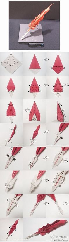 Step-by-step tutorial on how to fold an Origami Quill Pen. >> This looks so neat! A great gift for the writer in your family. ;)