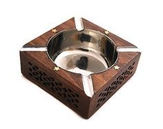 StarZebra Wooden Handmade Jaali Lattice Work Cigarette Ashtray with Steel Bowl  Smokers Gift  Perfect for Outdoors and Indoors >>> Be sure to check out this awesome product.